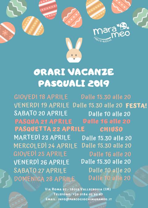 Orari delle vacanze Pasquali 2019